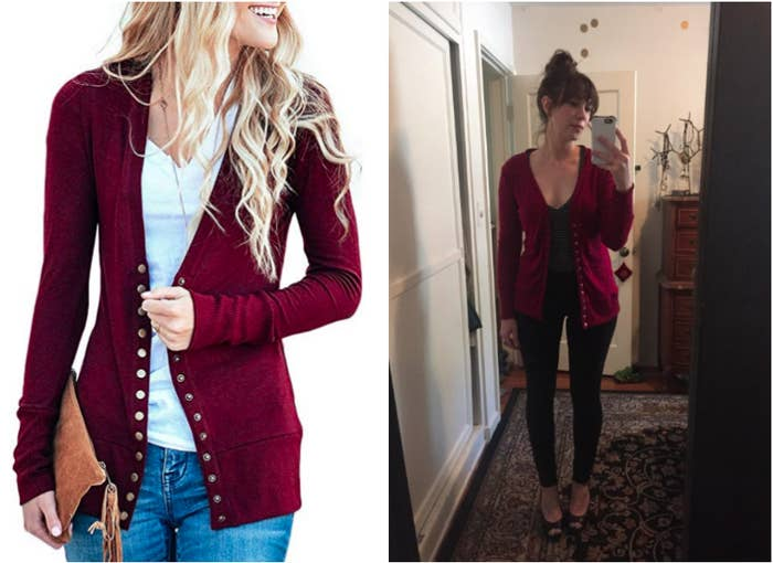 """Promising review: """"This is my go-to cardy now! I loved it as a layer when I went to San Francisco, and I have kept wearing it ever since. It's not too long and not too short — on me it doesn't cover my butt all the way, so I wouldn't wear it just with leggings, but it's just short enough that it looks good with jeans. The sleeves are very soft and stretchy so can easily pushed up to my elbows, which I do a lot. I love the snaps, but there are a ton of them, lol, but I usually wear it open anyways."""" —JuliaGet it from Amazon for $22.99+ (available in sizes XS-XL, two styles, and ten colors)."""