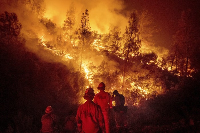 Firefighters monitor a backfire while battling the Mendocino Complex fire on Aug. 7.