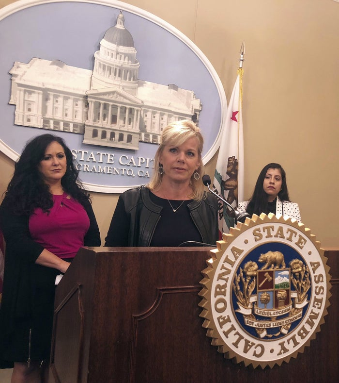 Former Fox News anchor Gretchen Carlson speaks in support of a California bill that would ban mandatory arbitration clauses and nondisclosure agreements.