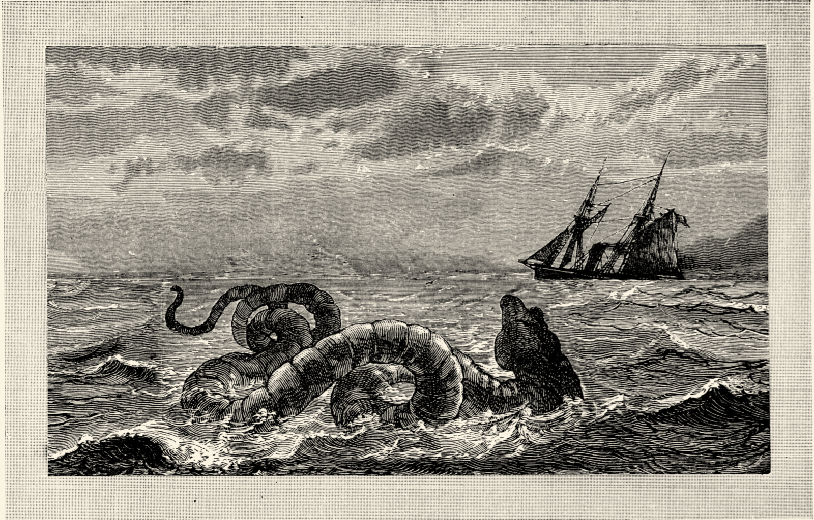 For over twenty minutes, the crew of the HMS Daedalus, a Royal Navy warship, watched what they claim to be a giant, 100-foot-long snake with a dragon's head swim near their boat. Don't trust the Daedalus crew? It was spotted a second time by the American brig Daphne, who even shot at the creature and tried to follow it, only to lose it at sea. Scientists today think they most likely saw a whale, but wouldn't a bunch of experienced sailors know the difference between a whale and a serpent?