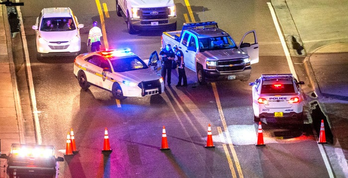 A heavy police presence remains into Sunday night at Jacksonville Landing.