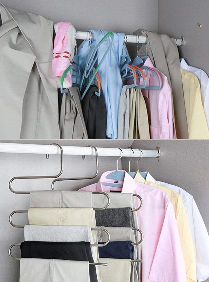 Multi-tier stainless steel clothing rack
