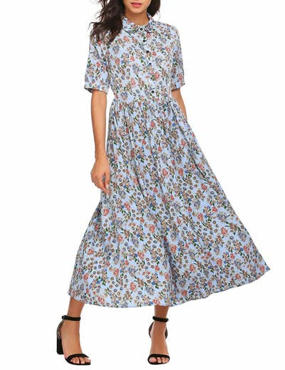 b9a34a04fe A floral maxi with a vintage edge that is basically begging to be worn with dad  sneakers.