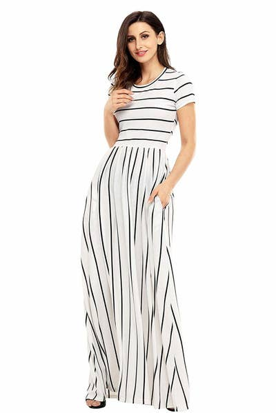 afce5688ee 32. A striped maxi for tall people who still want to sweep the floor with  their fashion sense.