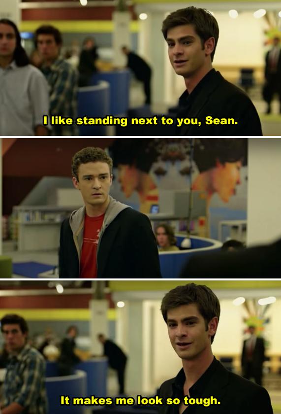 "Eduardo addressing Sean Parker at Facebook in ""The Social Network"""