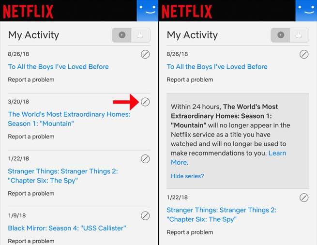 Navigate to Account > Viewing activity and click 🚫 beside the title you want to hide.
