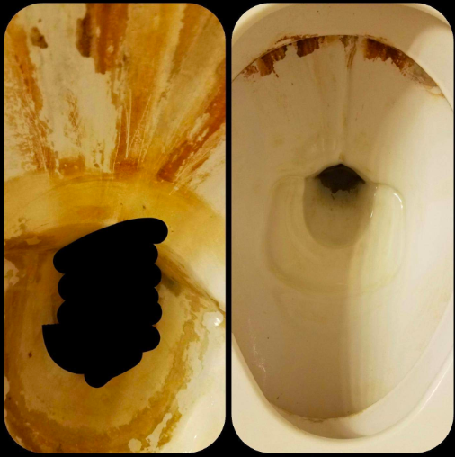 On the left, a thoroughly rust-stained toilet, and on the right, the toilet with about 80% of the stains gone
