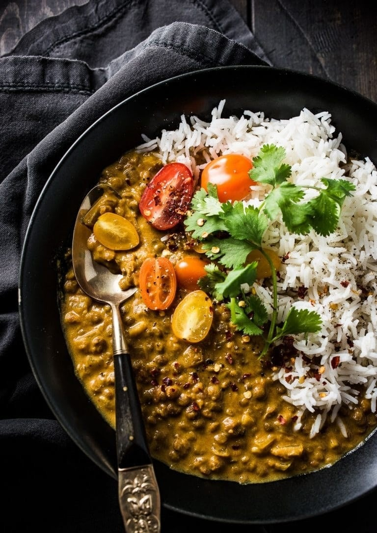 Not only is this recipe cheap and vegan, but you probably already have most of the ingredients. Just grab a bag of lentils, coconut milk, and canned tomatoes, then cook everything with a bunch of spices. Get the recipe.