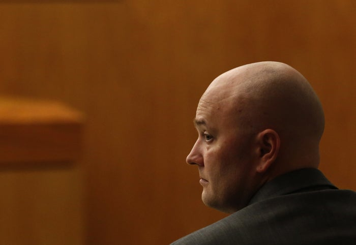 Former Fred Balch Springs police officer Roy Oliver sits in the courtroom on the second day of his trial.