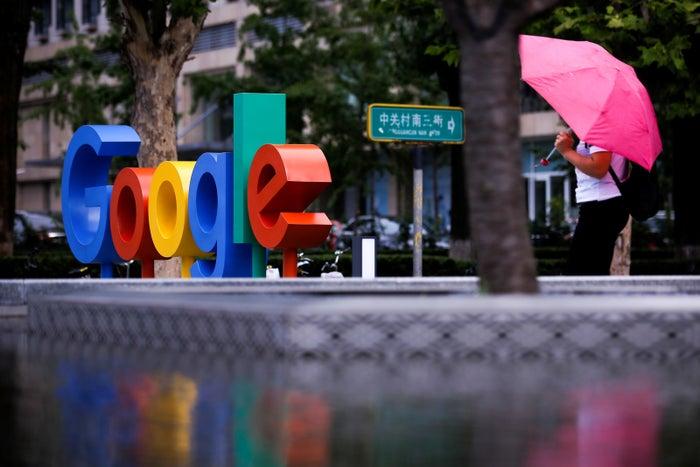 Google's logo outside its office in Beijing.