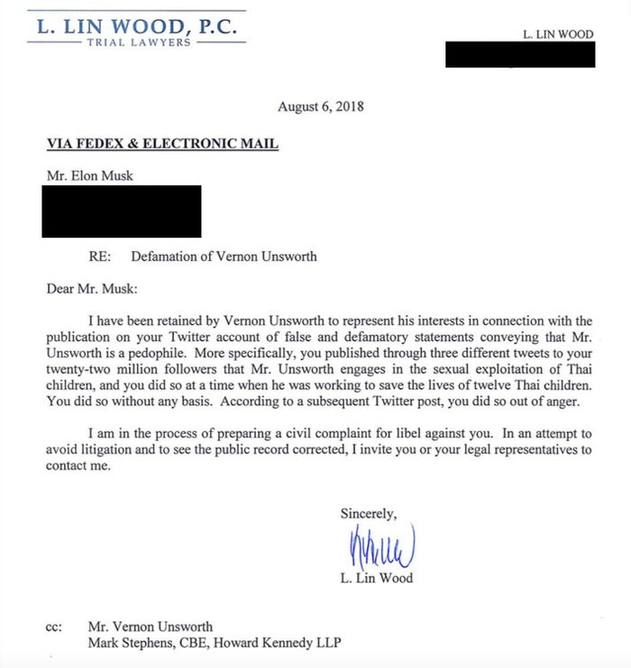 A copy of the letter sent to Musk's Los Angeles home from L. Lin Wood, a lawyer representing British diver and cave rescuer Vernon Unsworth.