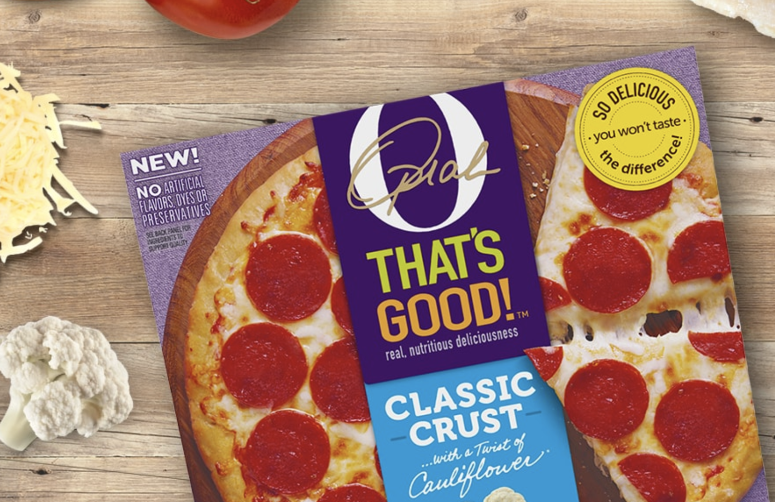 """The line is in collaboration with Kraft-Heinz and is dubbed as """"pizza made with a nutritious twist."""" The pizzas retail for $6.99 each and are in stores nationwide as of August 2018."""