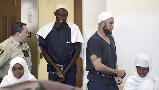 From left: Jany Leveille, Lucas Morton, Siraj Wahhaj, and Subbannah Wahhaj appear for a detention hearing Aug. 13.