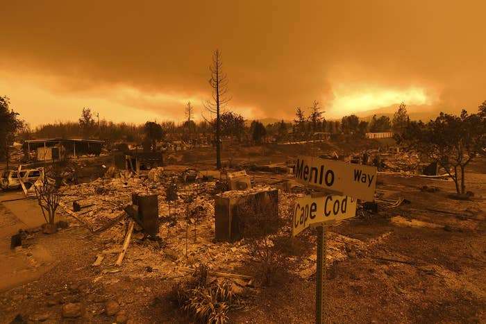Homes leveled by the Carr fire line the Lake Keswick Estates area of Redding, California.