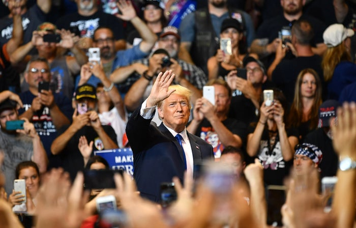 Supporters cheer upon the arrival of President Donald Trump for a political rally at Mohegan Sun Arena in Wilkes-Barre, Pennsylvania, on Aug. 2.