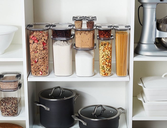 "Promising review: ""I absolutely LOVE this product. It is such a space-saver, and looks so much neater in my pantry! I can't say enough about this product. Absolutely love it. I'm searching for more things I can use these for, and I will order more because it looks great in the pantry and helps with space!""—Kelly R.Get a 10-piece set from Amazon for $51.71."