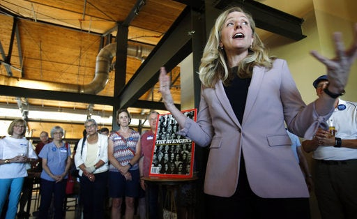 Former CIA officer and Democratic candidate Abigail Spanberger speaks to supporters at a rally in Richmond, Virginia.
