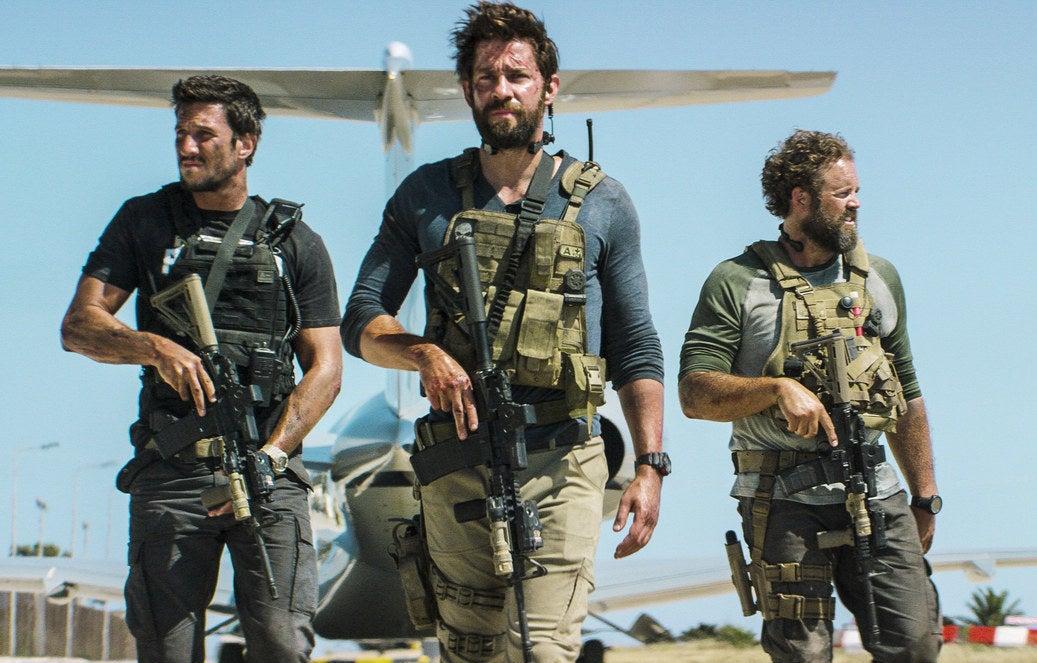 From left: Pablo Schreiber, Krasinski, and David Denman in 13 Hours: The Secret Soldiers of Benghazi.