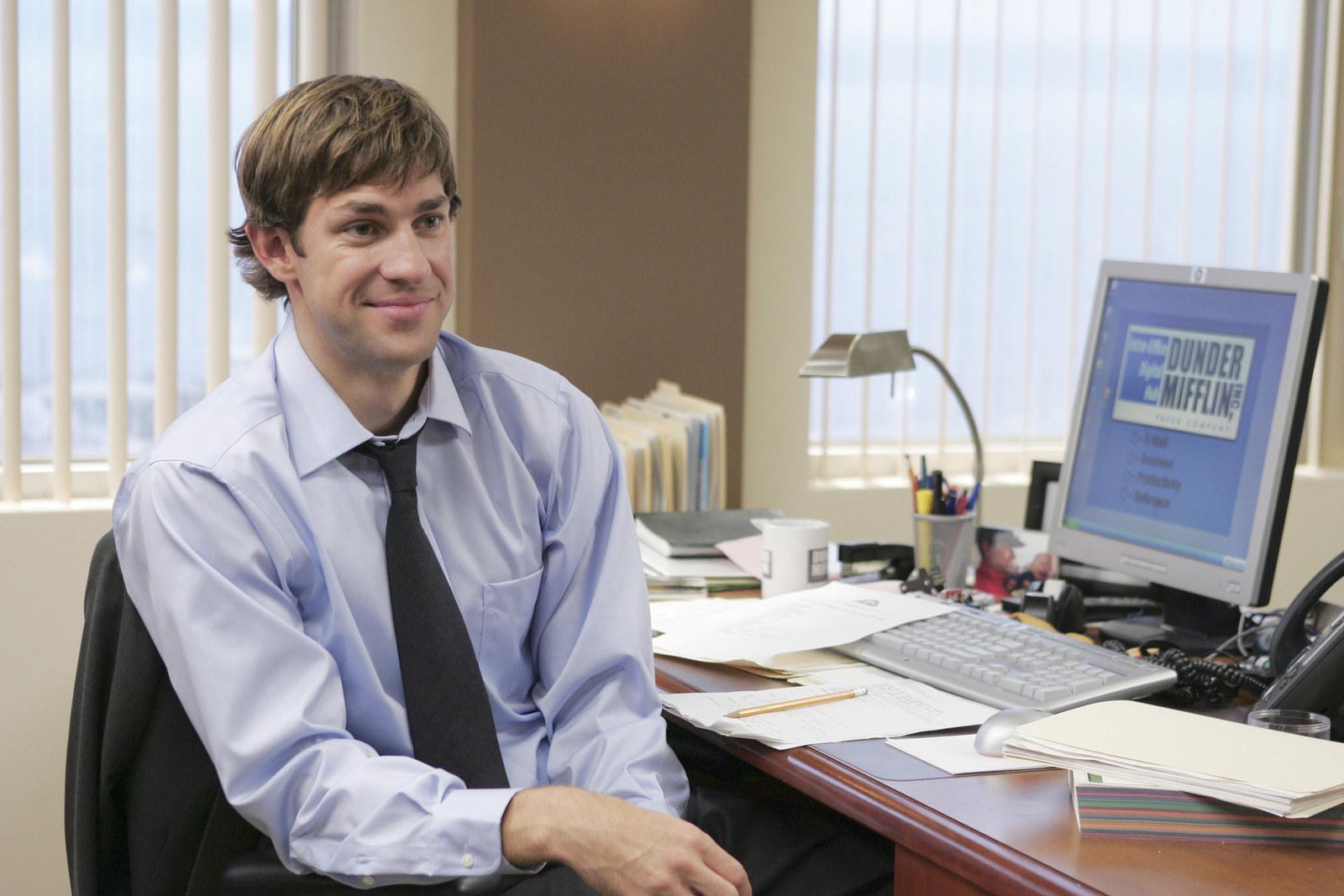Krasinski as Jim Halpert in The Office.