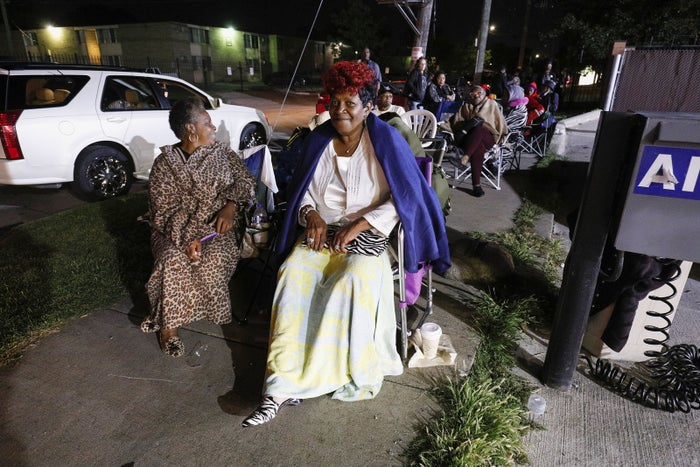 Fans of soul music icon Aretha Franklin line up outside Greater Grace Temple at 2:30 a.m., hoping to be one of the thousand members of the general public to be allowed in to the singer's funeral, on Aug. 31 in Detroit.