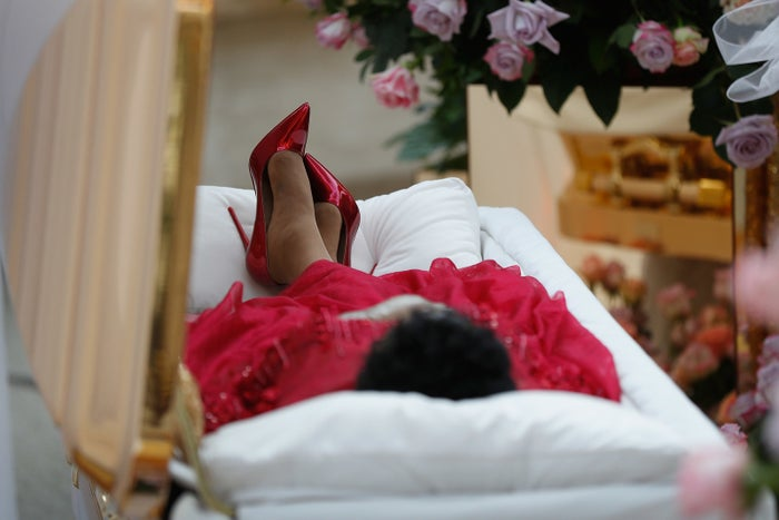 The body of Aretha Franklin lies in repose at the Charles H. Wright Museum of African American History, on Aug. 28 in Detroit.