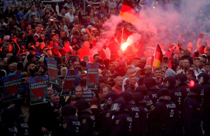Right-wing protesters rallied in Chemnitz on Monday.