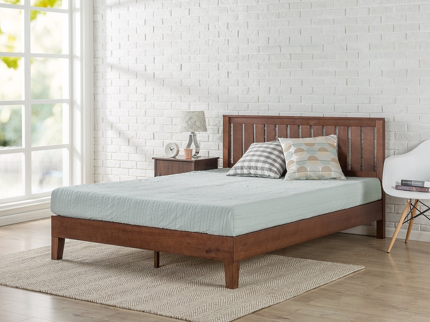 side view of the wooden slatted bed frame