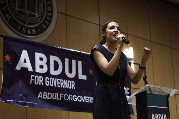 Alexandria Ocasio-Cortez, a New York Democratic congressional candidate, campaigns for Michigan gubernatorial candidate Abdul El-Sayed at a July rally.