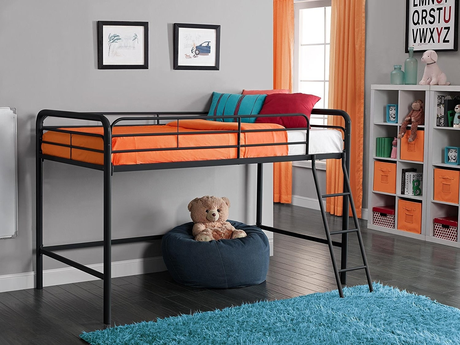 front view of the lofted metal twin bed