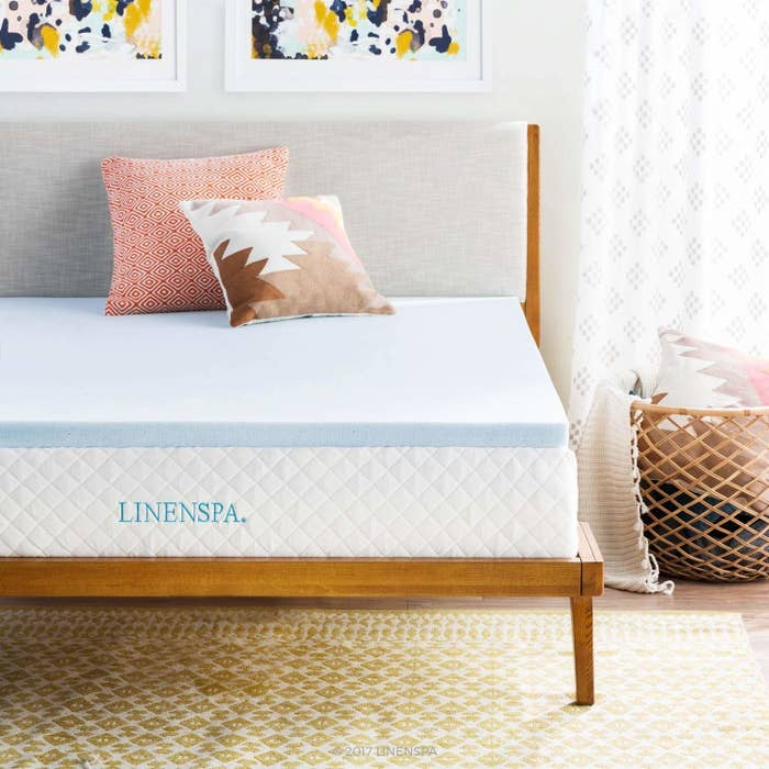 """Promising review: """"Most people know how college mattresses are. Once I purchased this, I overslept classes once or twice from a great night sleep. So much better and super comfortable. Able to be packed into a large crate over the summer and had no problem with it. I would recommend though to take it out here and there to breathe out and 're-fluff'."""" —Stephen LowtherGet it from Amazon for $43.99+ (available in sizes twin-California king)."""