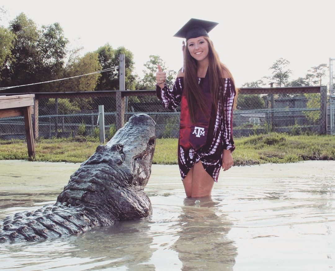 A 21-Year-Old Posed With A 13-Foot Alligator For Her Graduation And The Photos Are Something Else