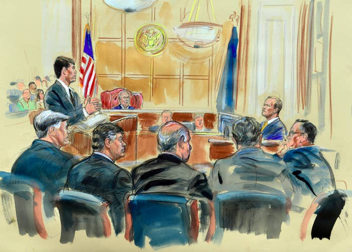 Special counsel prosecutor Greg Andres (left) questions Rick Gates on the stand.