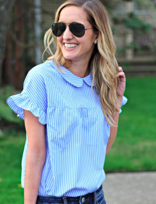 4c62236c68 Promising review   quot Such a cute top! I love the classic blue and