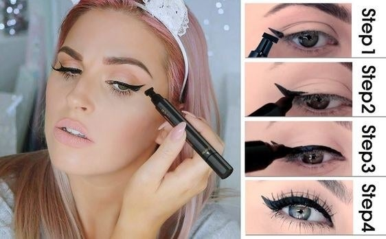 """This miracle worker has two sides: one is a triangle-shaped tip to create the perfect winged tip, while the other effortlessly glides to complete the look. Check out how a BuzzFeed editor uses a v similar one to create the ~perfect~ cat eye!Promising review: """"I love this stamp eyeliner. I have never been able to get my wings the way I wanted and now it's very easy to do. The tip on the eyeliner side is just the right size and you can adjust the thickness of the liner based on the pressure you use. Plus, my eyeliner stays on all day without smudging. I have had this more than two months and it still has plenty of product."""" —danielleGet it from Amazon for $9.99."""