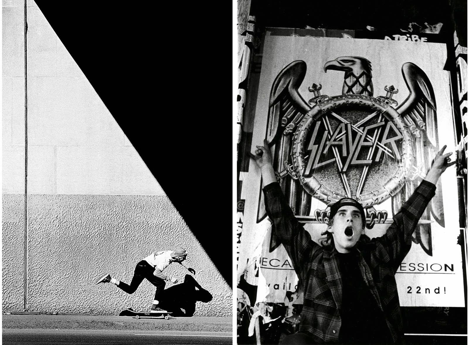 "Left: J. Grant Brittain; ""Todd Swank, Push""; 1987. Right: Tobin Yelland; ""John Cardiel and Slayer poster, San Francisco""; 1991."