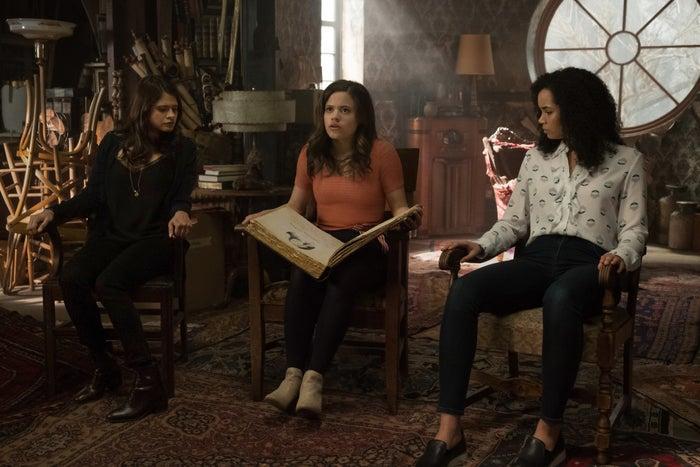 Melonie Diaz as Mel Vera, Sarah Jeffery as Maggie Vera, and Madeleine Mantock as Macy Vaughn in the Charmed reboot.