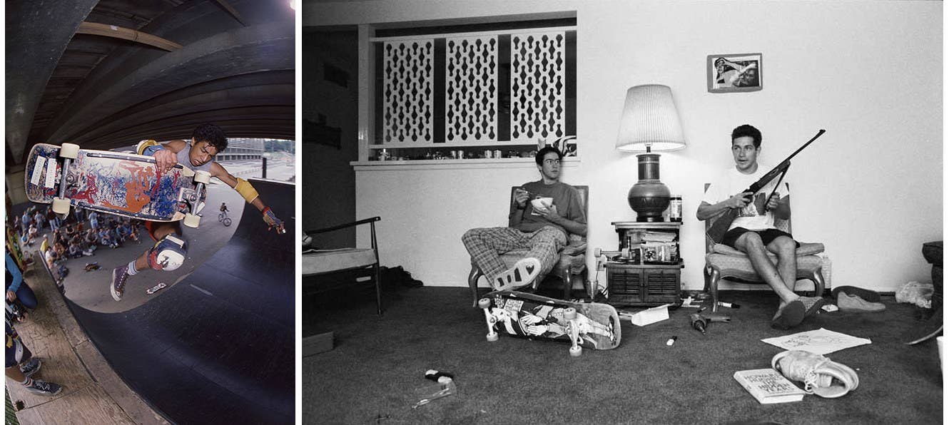 "Left: Dobie Campbell; ""Palace Originals, Lucian Hendricks, 1985. Crystal Palace."" Right: Spike Jonze; ""Jason Lee and Mark Gonzales, Huntington Beach""; 1989."