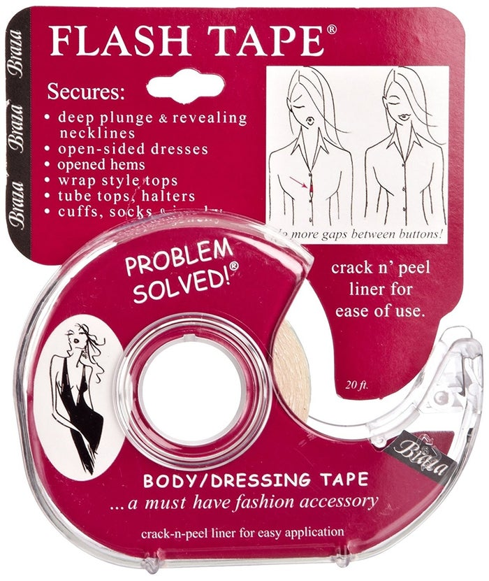"""Promising review: """"Fantastic product!! I purchased this to use on a low-cut evening gown. I taped the neckline down to my skin and danced the night away for hours with no issues! The dress looked great, I was comfortable, and did not have to worry about flashing anyone due to a wardrobe malfunction. I would HIGHLY recommend."""" —FL RunnerGet a 20-foot roll from Amazon for $5."""