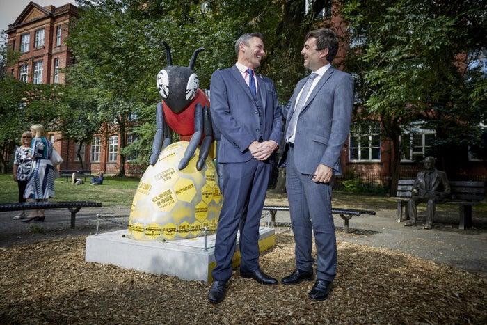 Carl Austin-Behan with Manchester mayor Andy Burnham