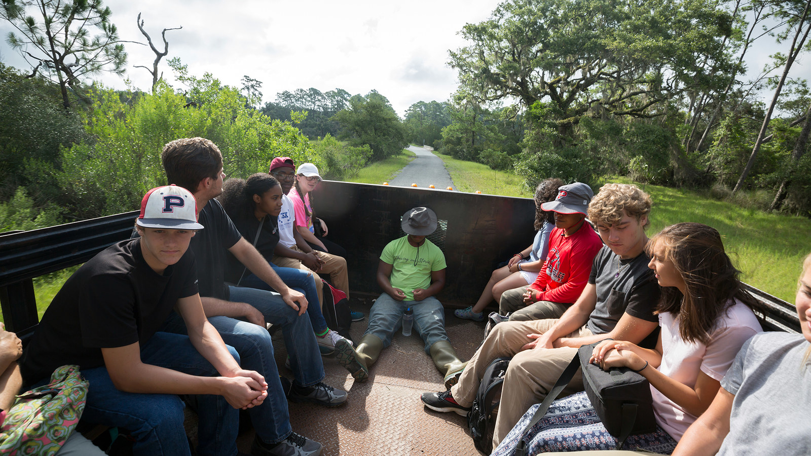 A group of Putnam County High School students and chaperones visit Sapelo Island with the Georgia Virtual History Project to study the lives of the people who were enslaved, especially Bilali Muhammad.
