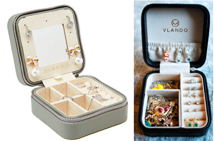 """Promising review: """"This is a great travel jewelry box for weekend trips and for smaller jewelry. I really like that it's compact so I can bring it on trips that I need just a few pieces of jewelry for. This jewelry easily fits in my luggage or my purse when traveling. I also really like the color. It's just what I was looking for. I would have no problem recommending it."""" —Jen OverlyPrice: $10.99+ (available in 15 style and color combinations)"""