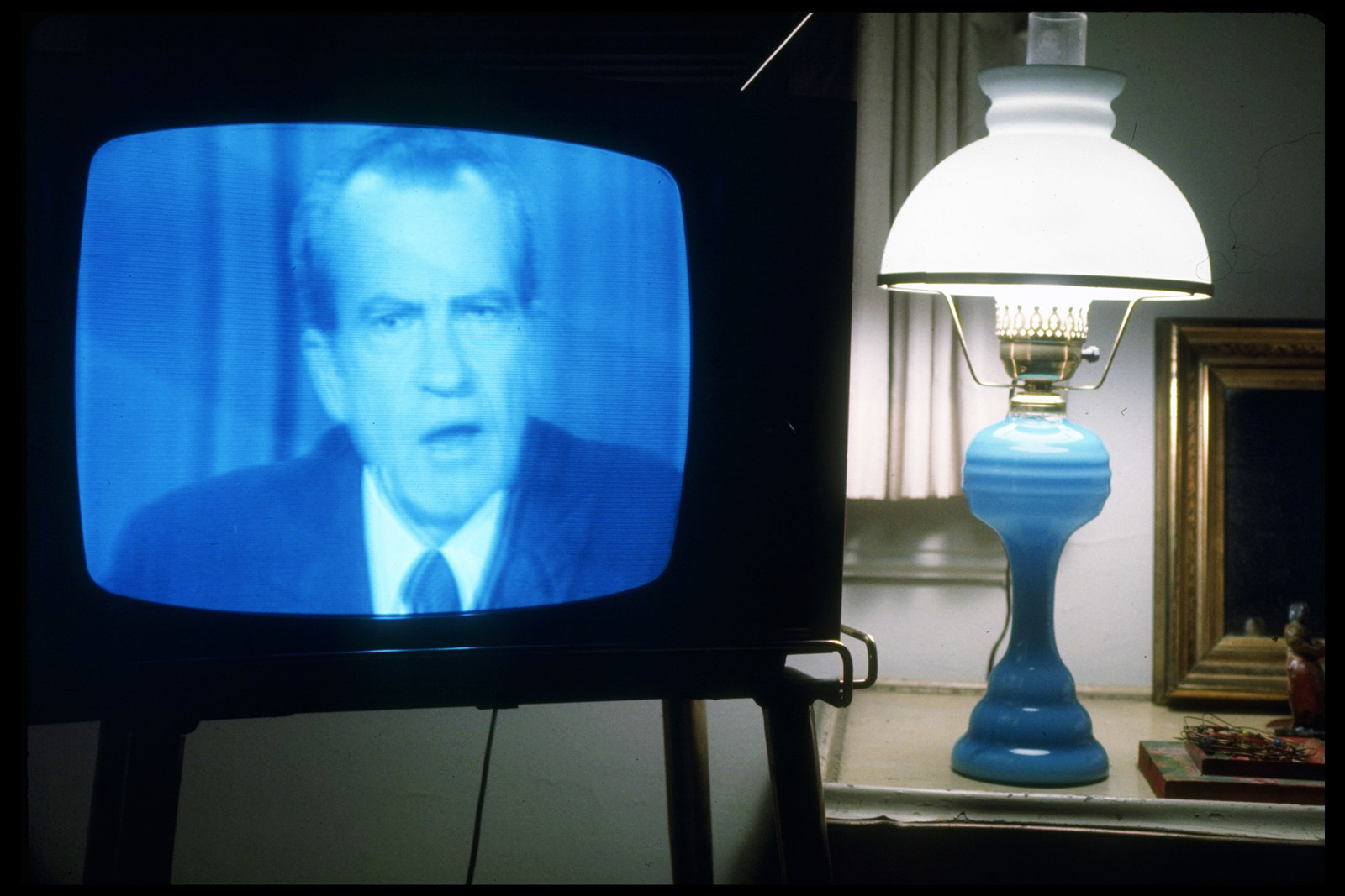 President Nixon announces his resignation on national TV during a speech from the Oval Office on Aug. 8, 1974.
