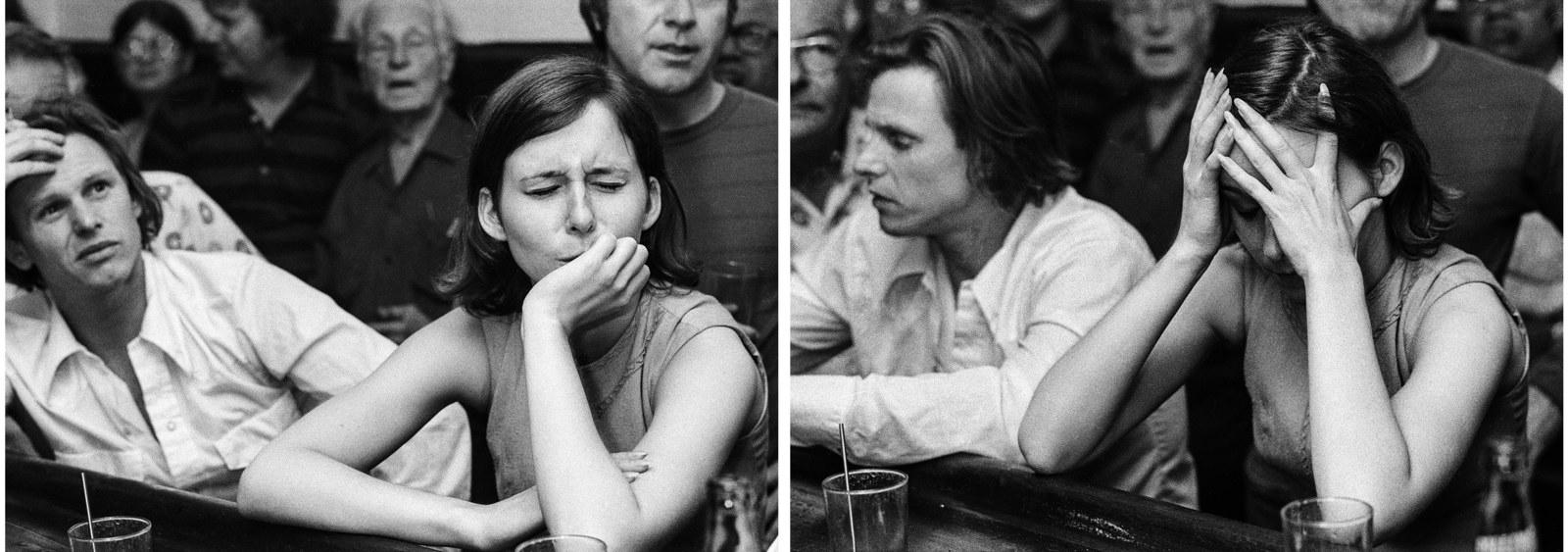 Patrons in a Philadelphia bar watch President Nixon's resignation speech.