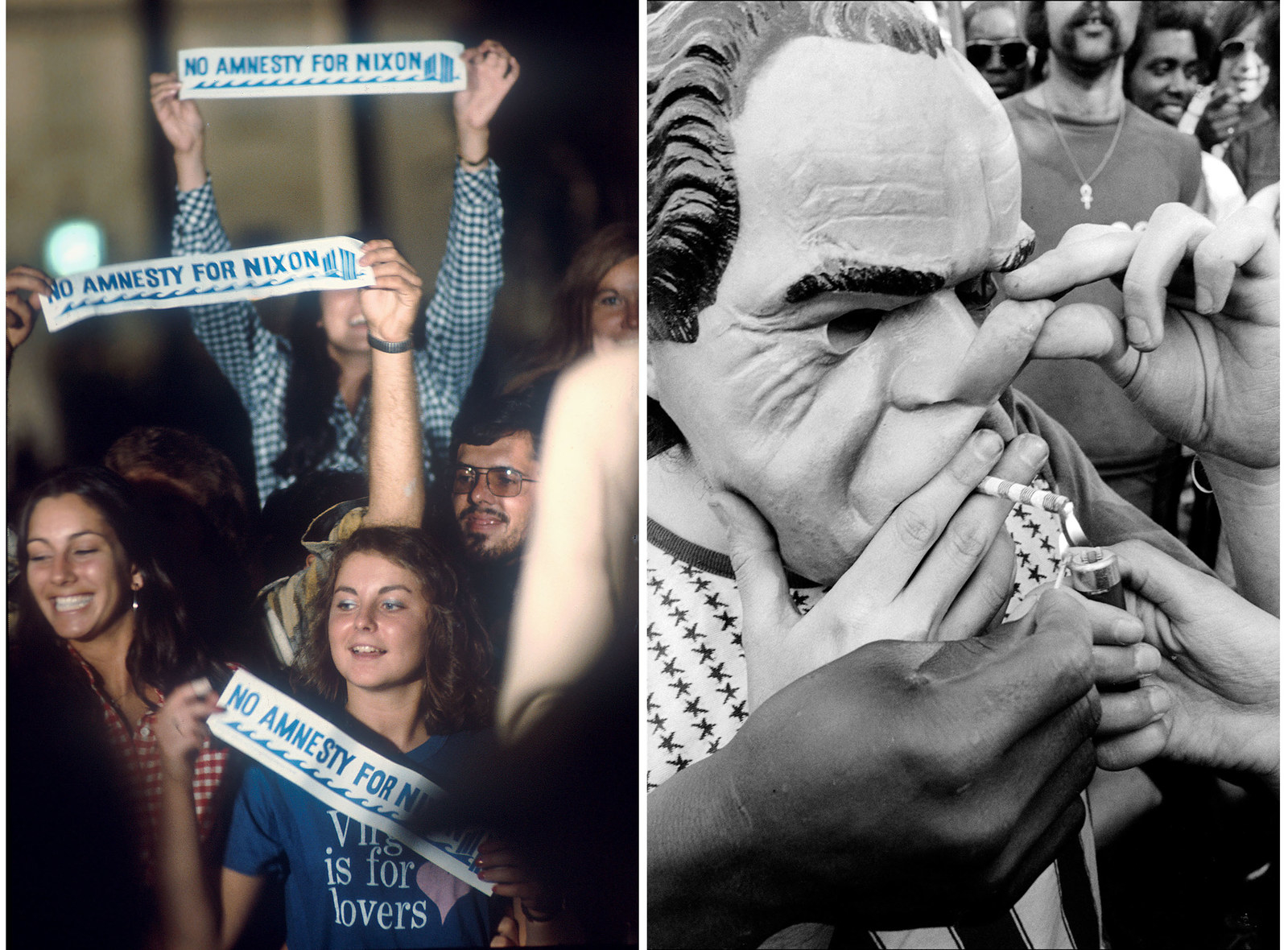 """Left: Anti-Nixon demonstrators hold up """"No Amnesty for Nixon"""" bumper stickers. Right: A man in a Nixon mask smokes a joint in New York City, 1974."""