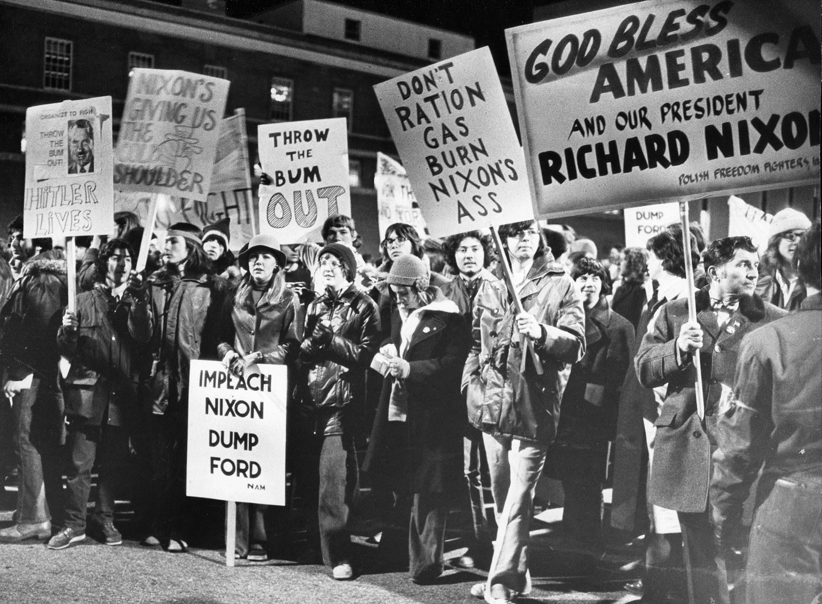 Anti-Nixon protesters march to the Sheraton Hotel in Boston on March 11, 1974.