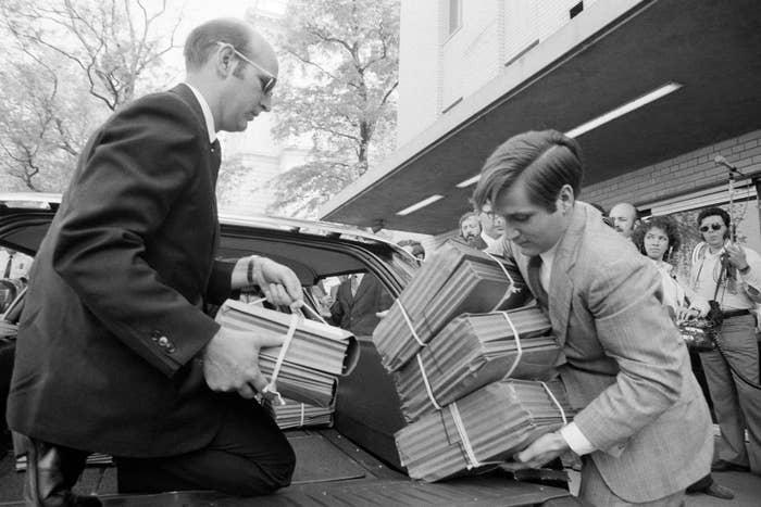 Transcripts of Nixon's Watergate conversations arrive on Capitol Hill on April 30, 1974.