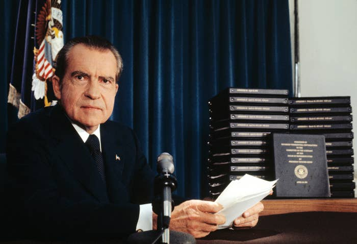 On April 29, 1974, President Richard Nixon announced that he would turn over 1,200 pages of edited transcripts about the Watergate scandal to the House Judiciary Committee. The stack of transcripts to be released are in the background.