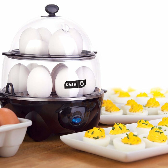 "This lil' appliance can transform eggs into hard-boiled, soft-boiled, poached, scrambled, or individual omelet masterpieces — all within minutes of the push start button!Promising review: ""I originally purchased the smaller, 6-egg Dash egg cooker. I am always the one who brings the deviled eggs, and at New Year's this year I made 5 dozen. After using the 6-egg cooker I decided if I was going to do that again I'd have to get the one that cooks a dozen at a time. It's just as easy to use and lovely as the smaller version. The eggs are so much better cooked in steam than boiled — the whites are silky and smooth, and not rubbery like can sometimes happen when you boil."" —J. VanMatreGet it from Amazon for $29.96+ (also available in red)."