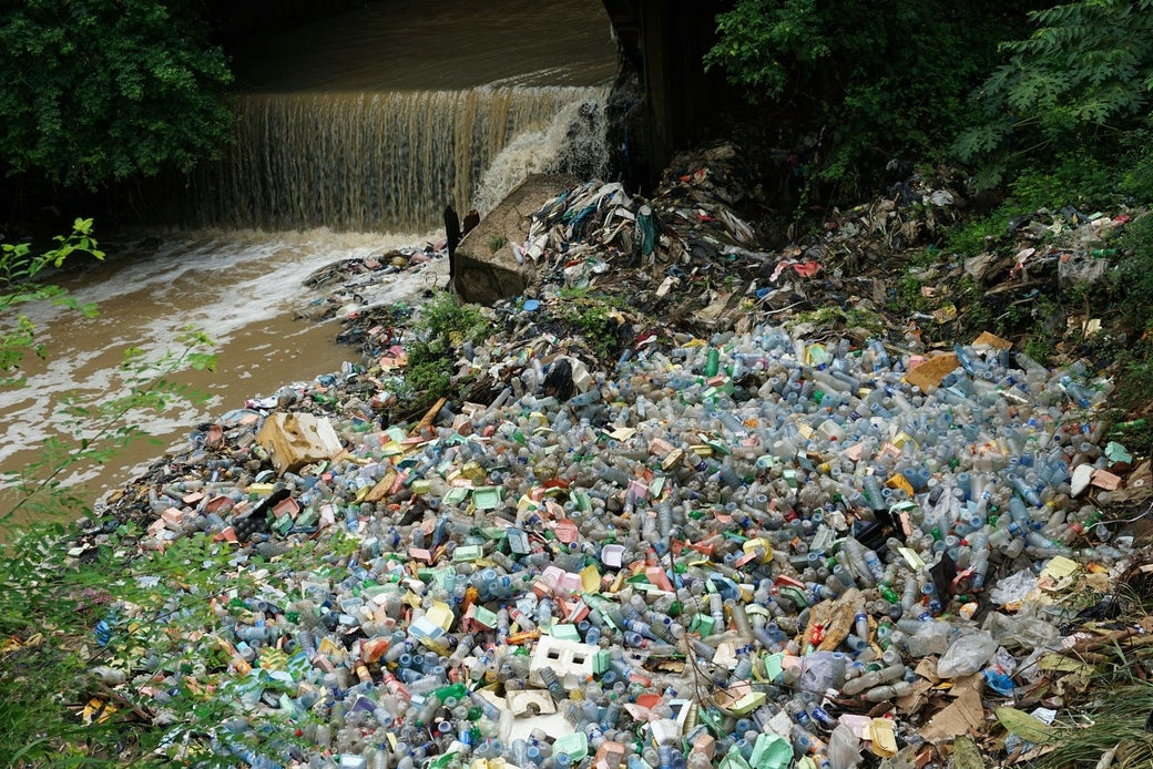 Plastic waste dumped in water channels at Isolo in Lagos.