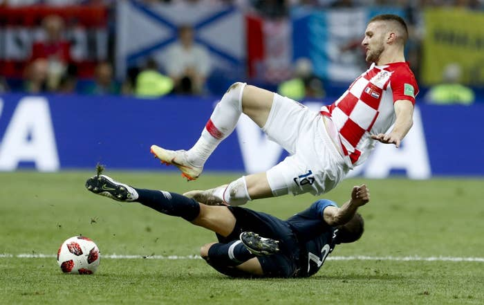 France's Lucas Hernández tackles Croatia's Ante Rebić during the final match between France and Croatia at the 2018 World Cup in Moscow.